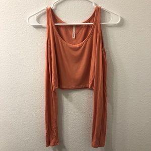 A+ Ellen long sleeve top orange extra small